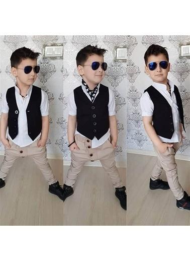 Quzucuk Kids Erkek Çocuk Yelekli Gabardin Takım Renkli